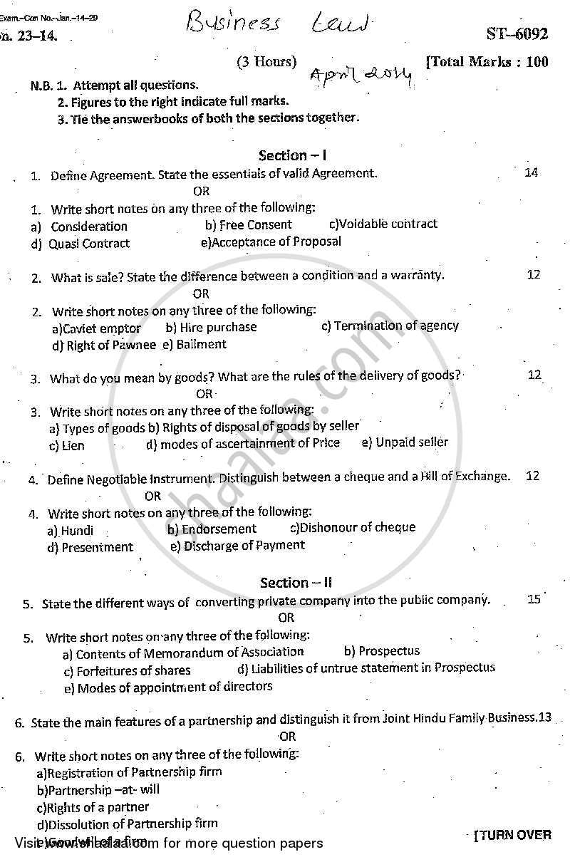 business law questions essay Essay about business law final exam kellogg business school law and corporate managers – prof larry franklin question two a (i) for refusal in order to honor the lc, the seller has to comply exactly with the terms of the letter of credit.