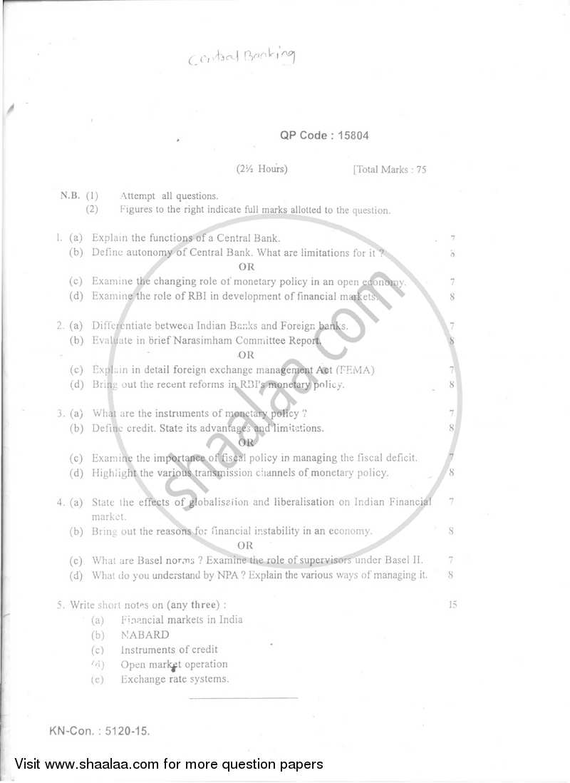 Mumbai University Question Paper Download