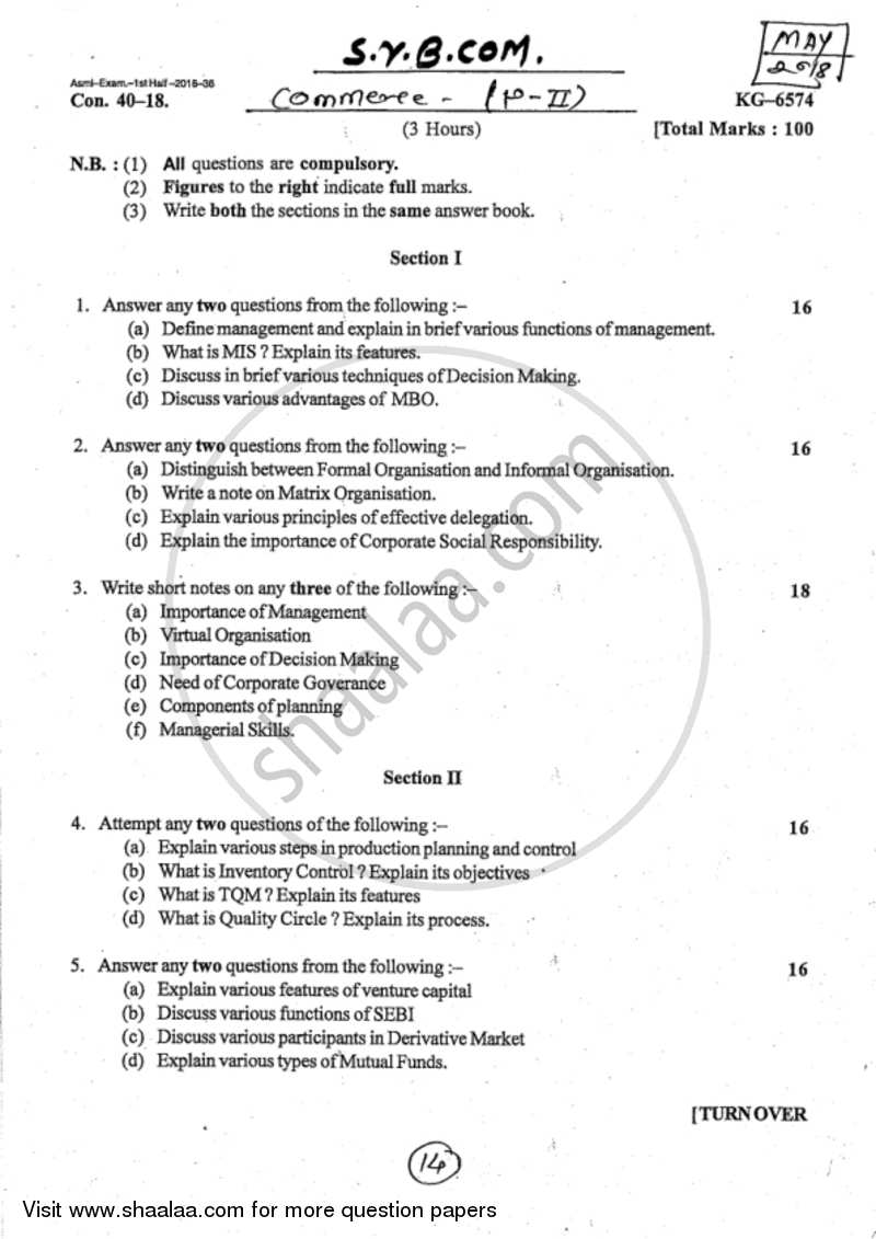 By Photo Congress || Principles Of Management B com Part 2 Notes Pdf