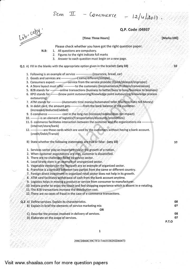 Commerce 2 2016-2017 B Com (General) Semester 2 (FYBcom
