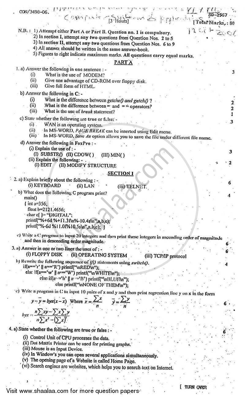 Question Paper - Computer Systems and Applications 2006 - 2007 - B.Com. - Semester 5 (TYBcom) - University of Mumbai