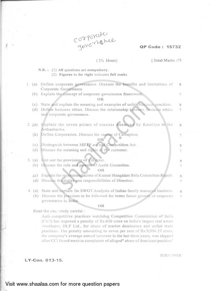 Question Paper - Corporate Governance 2014-2015 - B.Com. - Semester 6 (TYBFM) - University of Mumbai with PDF download