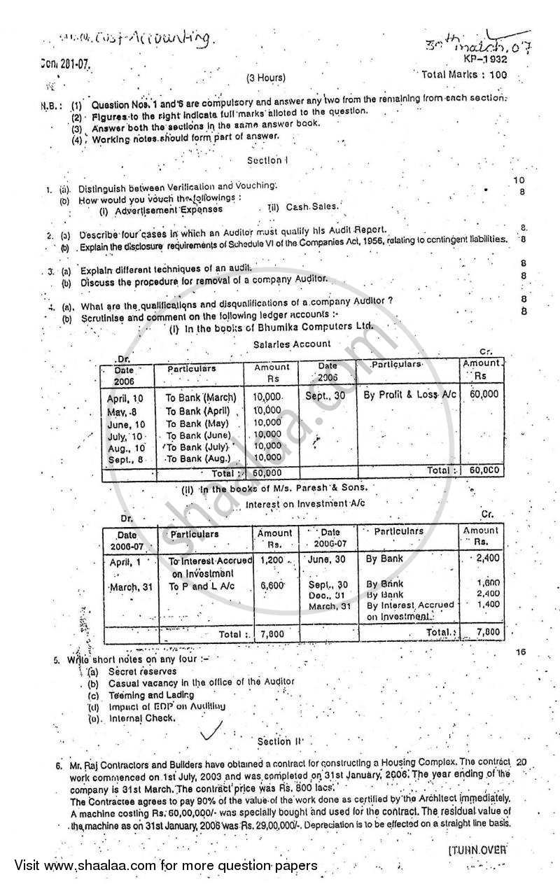 Question Paper - Cost Accounting Introduction and Basic Concepts (Financial Accounting and Auditing 4) 2006 - 2007 - B.Com. - 3rd Year (TYBcom) - University of Mumbai