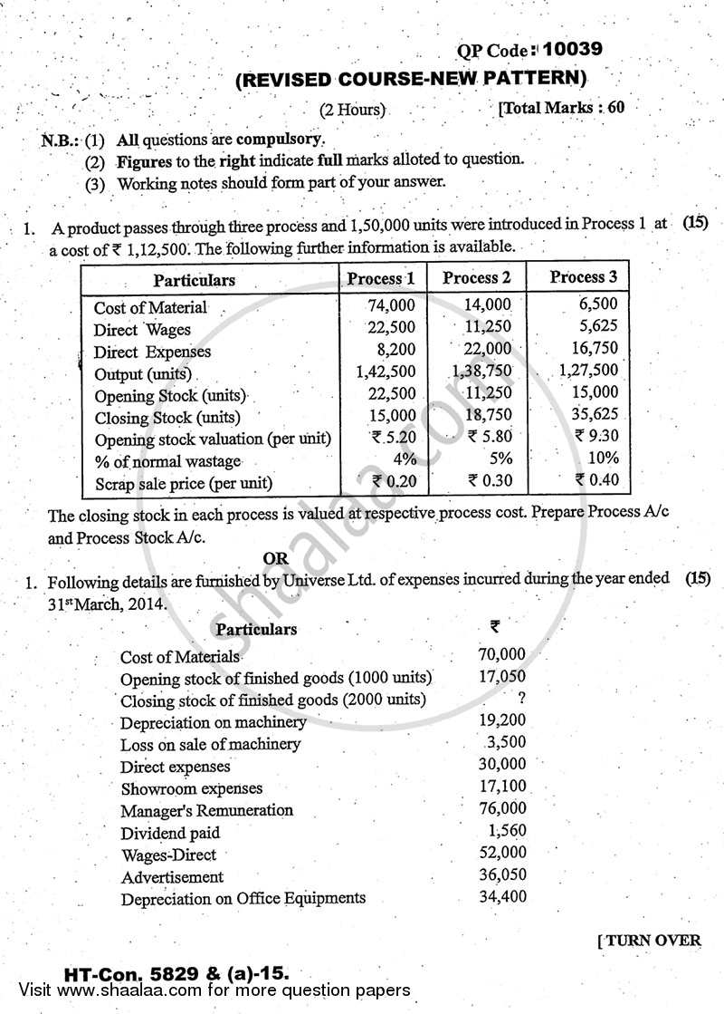 Question Paper - Cost Accounting Introduction and Basic Concepts (Financial Accounting and Auditing 4) 2014 - 2015 - B.Com. - 3rd Year (TYBcom) - University of Mumbai