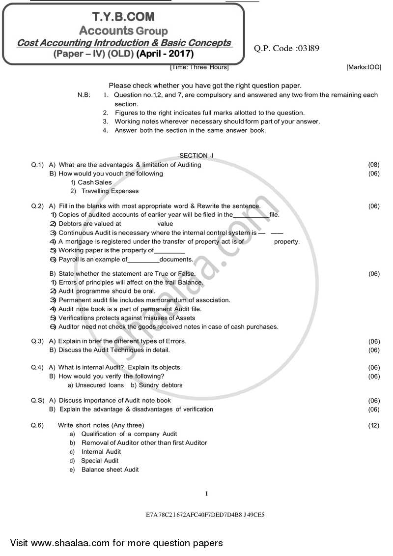 Question Paper - Cost Accounting Introduction and Basic Concepts (Financial Accounting and Auditing 4) 2016 - 2017 - B.Com. - 3rd Year (TYBcom) - University of Mumbai