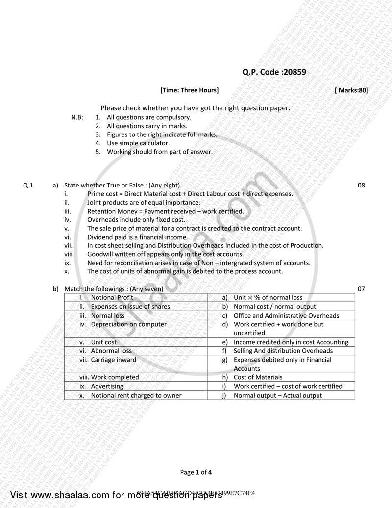 Cost Accounting Paper– 2 (Methods of Costing) 2017-2018 B