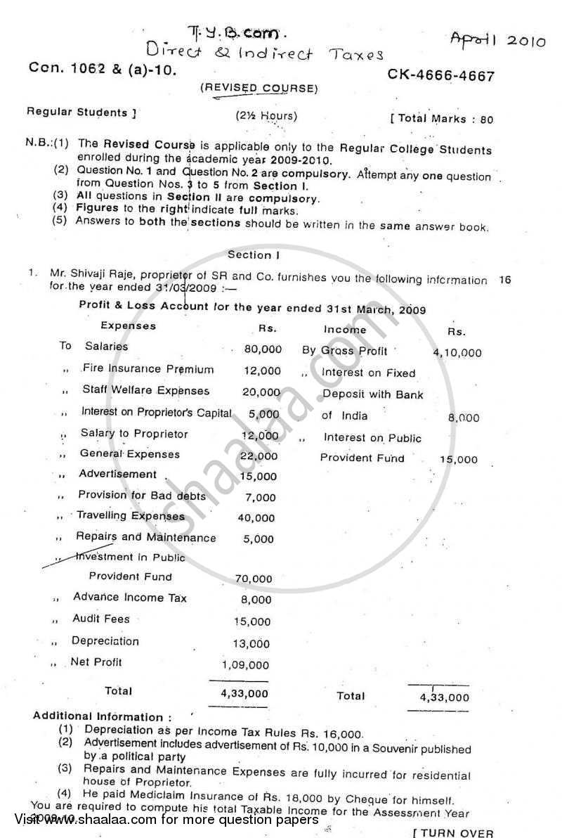 Question Paper - Direct and Indirect Taxation 2009 - 2010-B.Com.-3rd Year (TYBcom) University of Mumbai