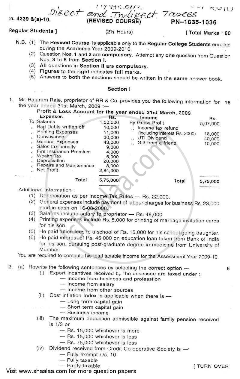 Question Paper - Direct and Indirect Taxation 2010 - 2011 - B.Com. - 3rd Year (TYBcom) - University of Mumbai