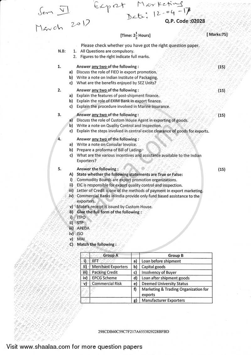 Question Paper - Export Marketing (Applied Component Group) 2016 - 2017 - B.Com. - Semester 6 (TYBcom) - University of Mumbai