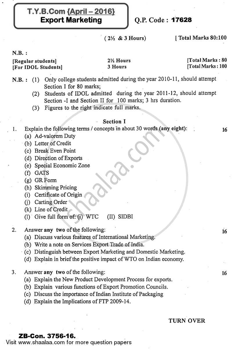 Question paper export marketing 2015 2016 bcom idol question paper export marketing 2015 2016 b 3rd year malvernweather Image collections