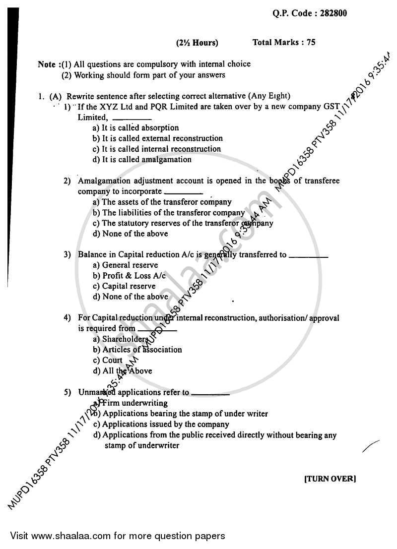 Financial Accounting Paper 5 2016-2017 B Com Accounting and Finance