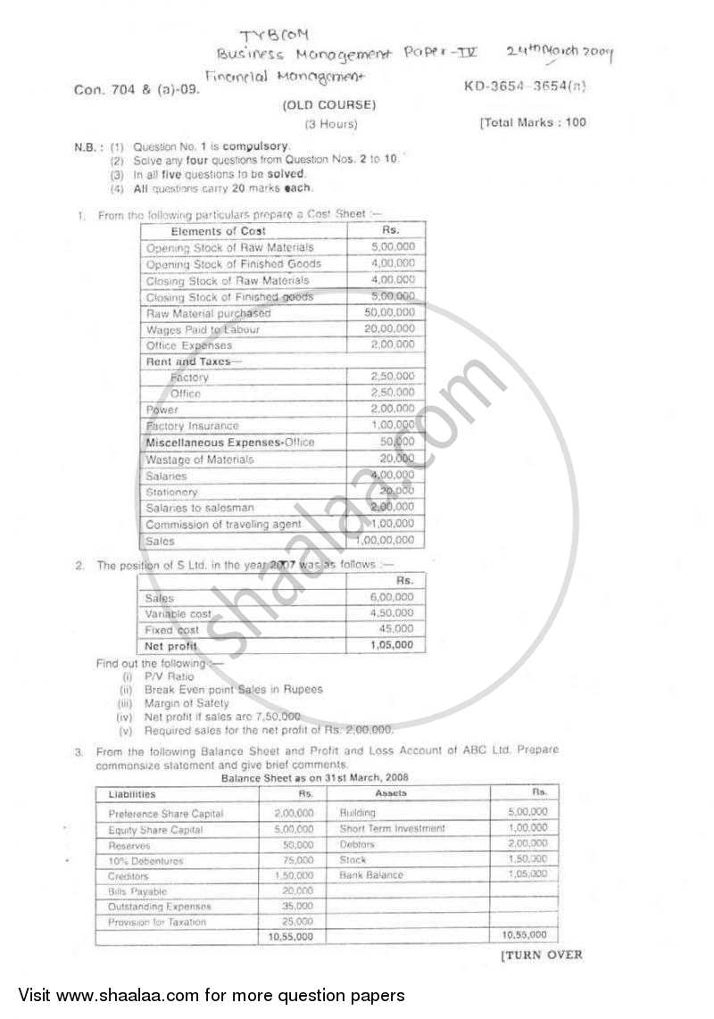 Question Paper - Financial Management 2008 - 2009 - B.Com. - 3rd Year (TYBcom) - University of Mumbai