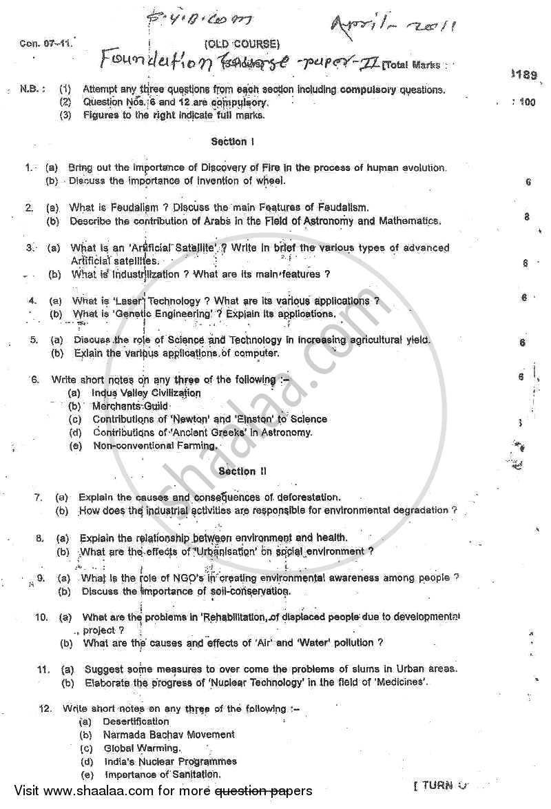 Question Paper - Foundation Course 2 2010 - 2011 - B.Com. - 2nd Year (SYBcom) - University of Mumbai