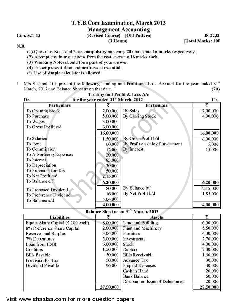 Question Paper - Introduction to Management Accounting and Introduction to Auditing (Financial Accounting and Auditing 5) 2012 - 2013 - B.Com. - 3rd Year (TYBcom) - University of Mumbai