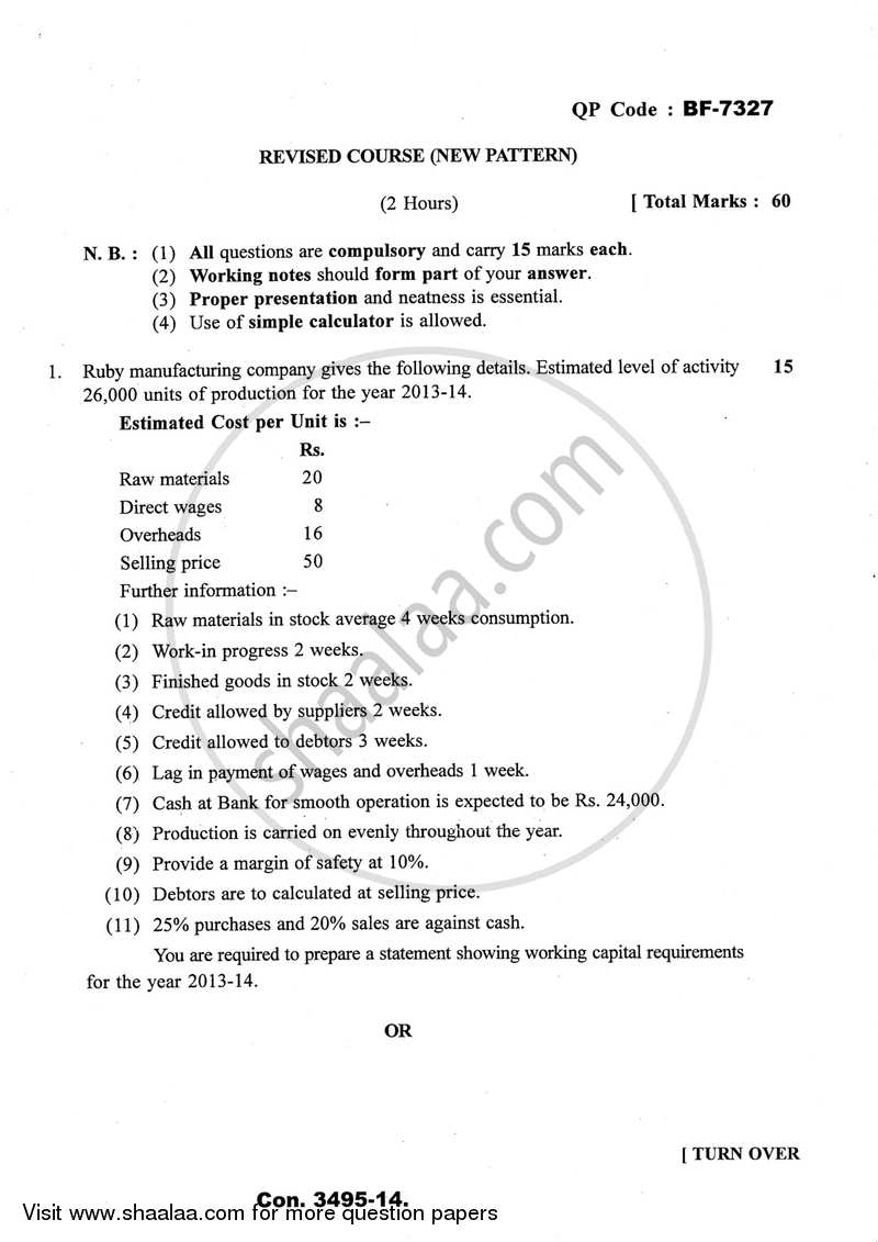 Question Paper - Management Accounting (Financial Accounting and Auditing 10) 2013 - 2014 - B.Com. - Semester 6 (TYBcom) - University of Mumbai