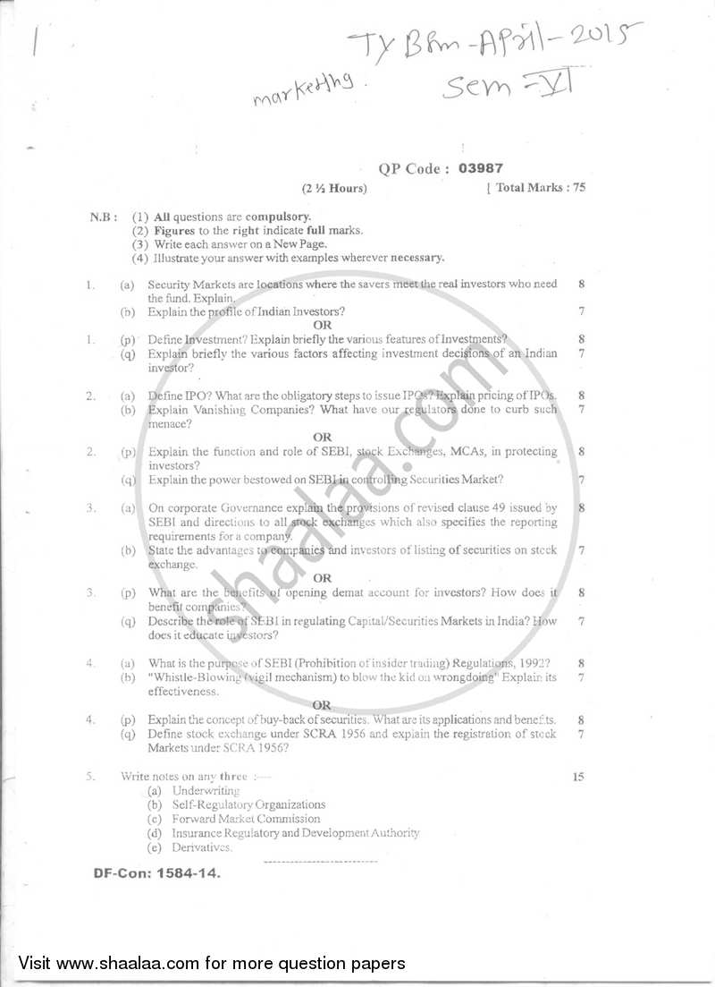 Question Paper - Marketing of Financial Services 2014-2015 - B.Com. - Semester 6 (TYBFM) - University of Mumbai with PDF download