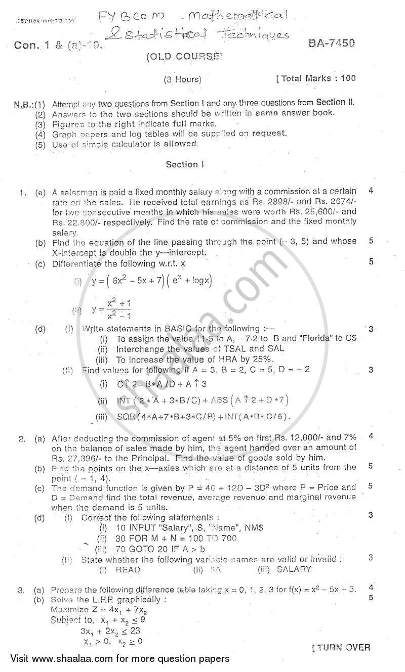 Question Paper - Mathematical and Statistical Techniques 2009 - 2010-B.Com.-1st Year (FYBcom) University of Mumbai