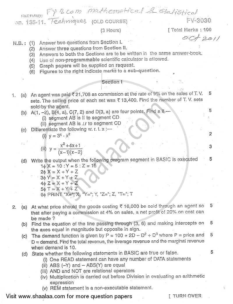 Question Paper - Mathematical and Statistical Techniques 2011 - 2012 - B.Com. - 1st Year (FYBcom) - University of Mumbai