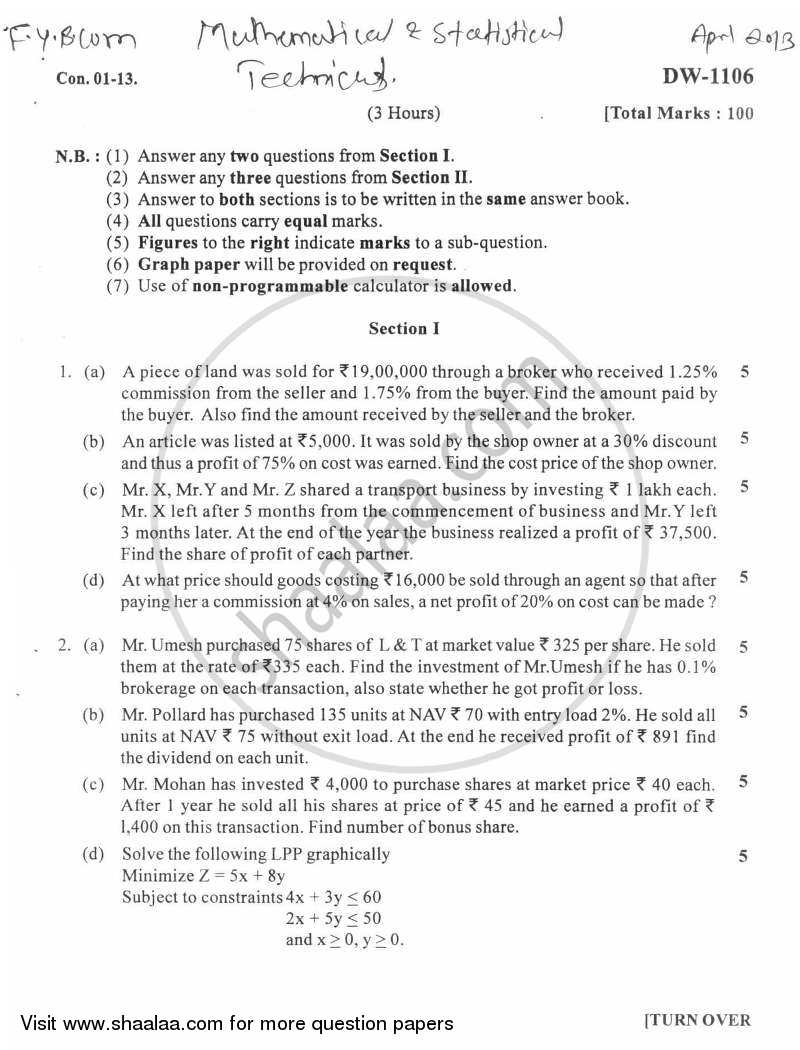 Mathematical and Statistical Techniques 2012-2013 - B.Com. - 1st Year (FYBcom) - University of Mumbai question paper with PDF download
