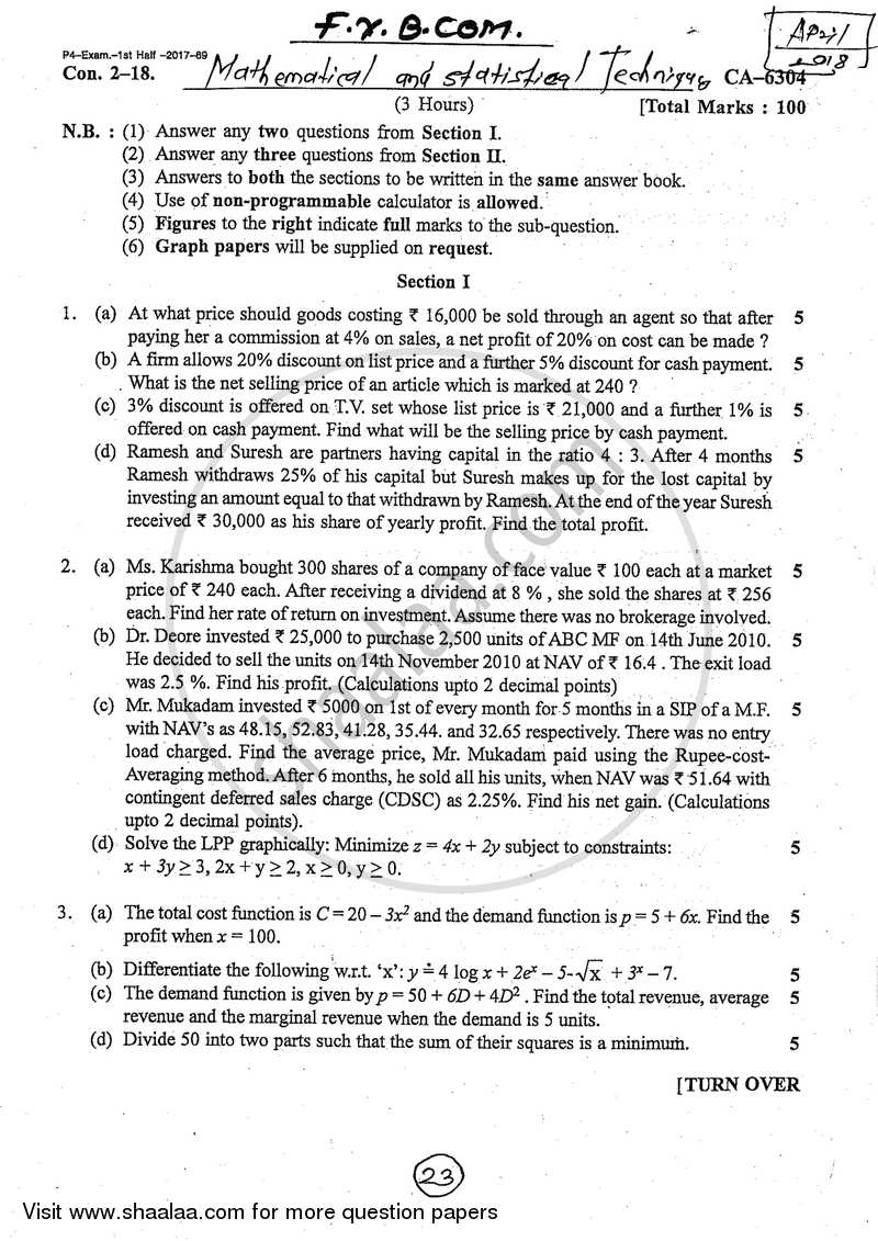 Mathematical and Statistical Techniques 2017-2018 B Com
