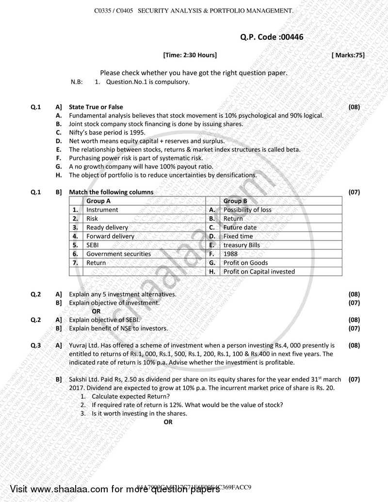 Security Analysis and Portfolio Management 2017-2018 B Com Banking