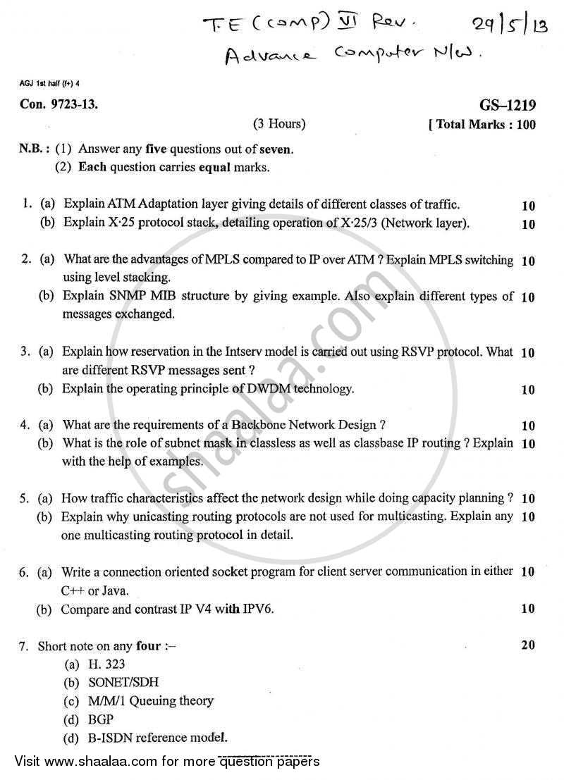 Question Paper - Advance Computer Network 2012-2013 - B.E. - Semester 6 (TE Third Year) - University of Mumbai with PDF download