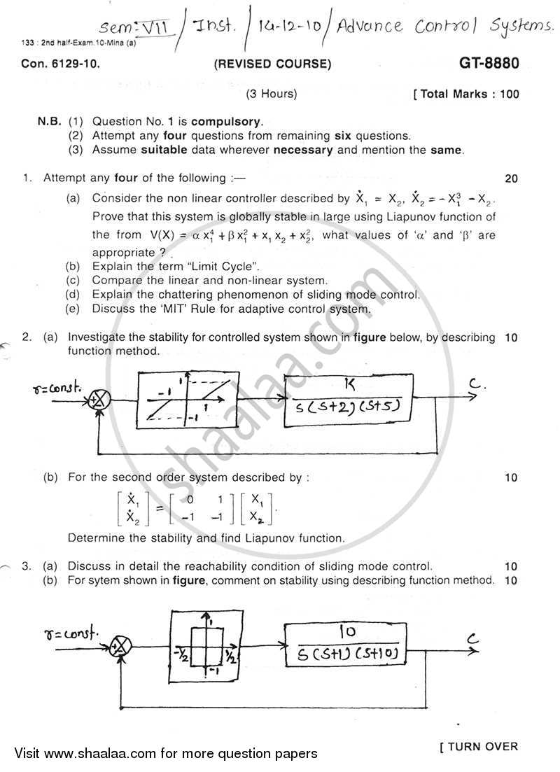Question Paper - Advance Control Systems 2010 - 2011 - B.E. - Semester 7 (BE Fourth Year) - University of Mumbai