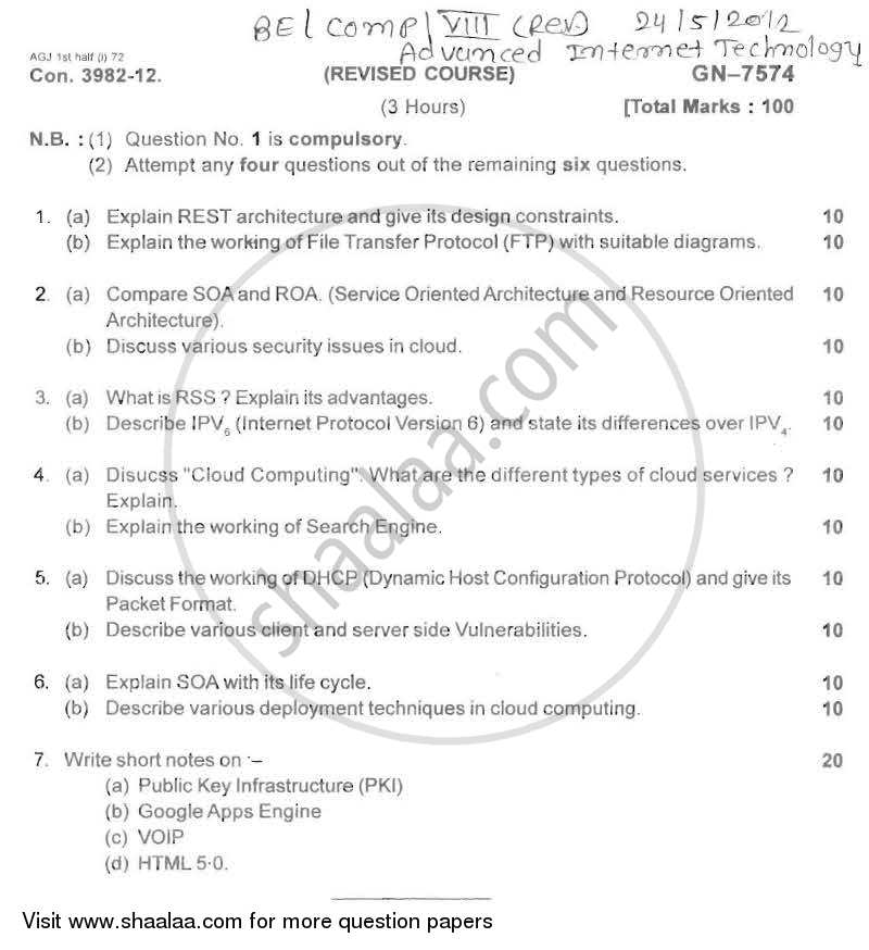 Advance Internet Technology 2011-2012 - B.E. - Semester 8 (BE Fourth Year) - University of Mumbai question paper with PDF download