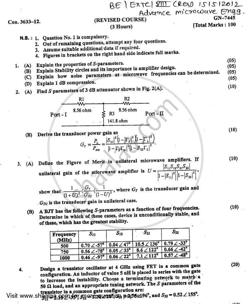 Question Paper - Advance Microwave Engineering 2011 - 2012 - B.E. - Semester 8 (BE Fourth Year) - University of Mumbai
