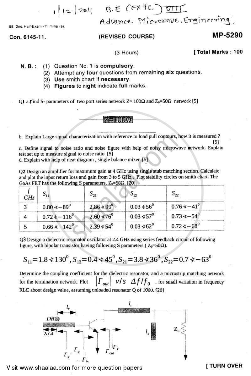 Question Paper - Advance Microwave Engineering 2011 - 2012-B.E.-Semester 8 (BE Fourth Year) University of Mumbai