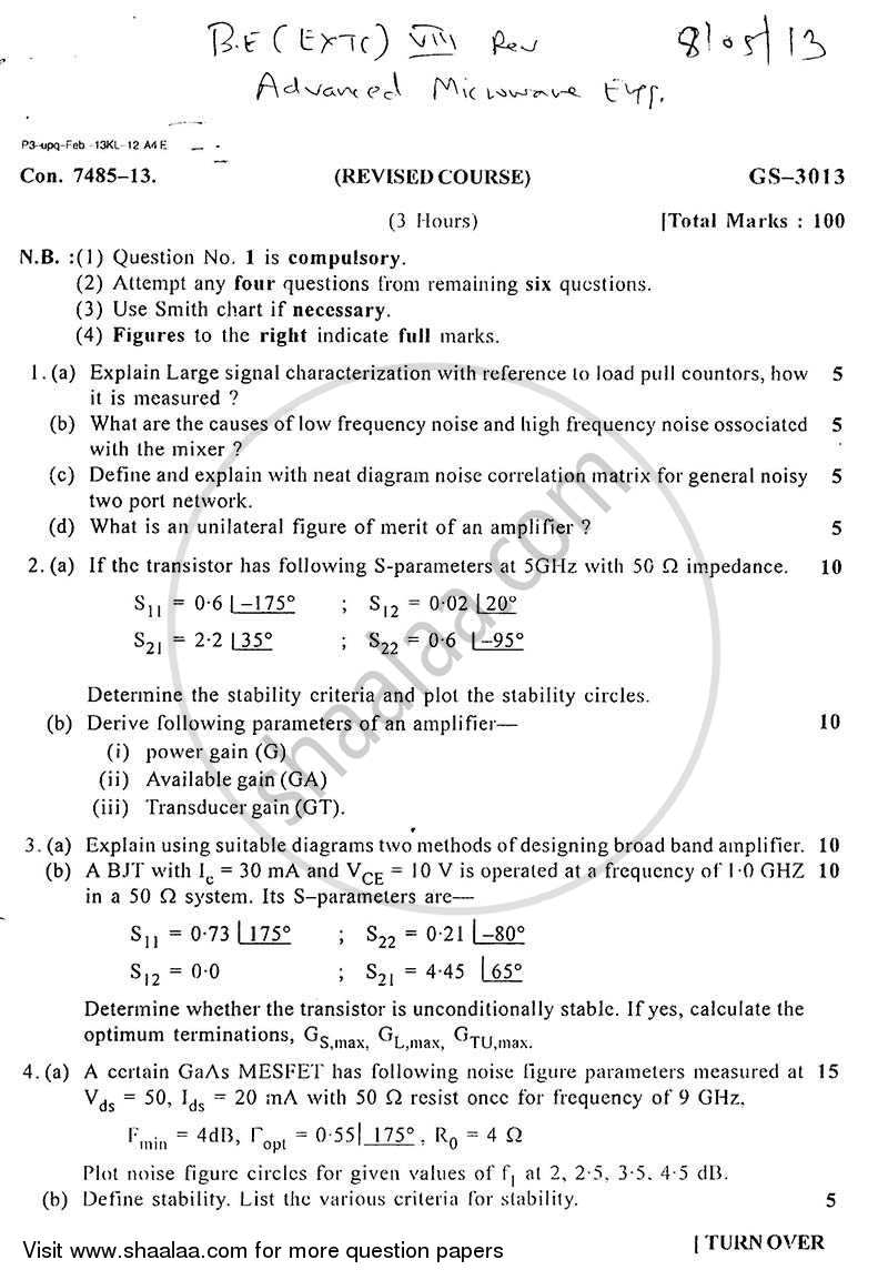 Question Paper - Advance Microwave Engineering 2012 - 2013 - B.E. - Semester 8 (BE Fourth Year) - University of Mumbai