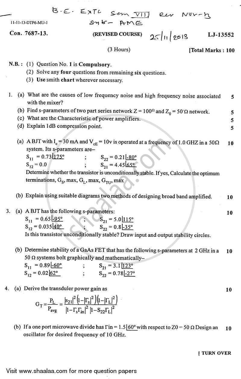Question Paper - Advance Microwave Engineering 2013 - 2014 - B.E. - Semester 8 (BE Fourth Year) - University of Mumbai