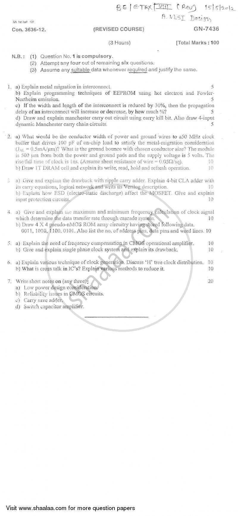 Question Paper - Advance Vlsi Design 2011 - 2012 - B.E. - Semester 8 (BE Fourth Year) - University of Mumbai