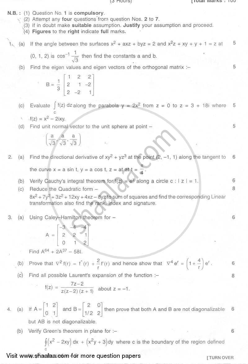 Advanced Engineering Mathematics 2007-2008 - B.E. - Semester 4 (SE Second Year) - University of Mumbai question paper with PDF download