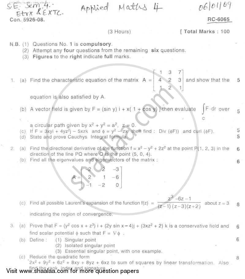Question Paper Be Electronics Engineering Semester 4 Se Second