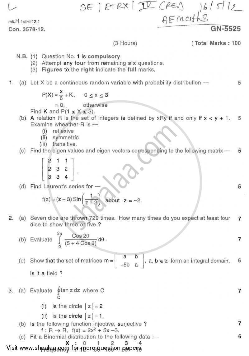 Question Paper - Advanced Engineering Mathematics 2011 - 2012 - B.E. - Semester 4 (SE Second Year) - University of Mumbai