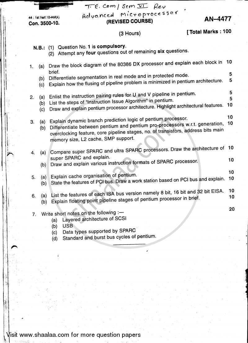Question Paper - Advanced Microprocessor 2009 - 2010 - B.E. - Semester 6 (TE Third Year) - University of Mumbai