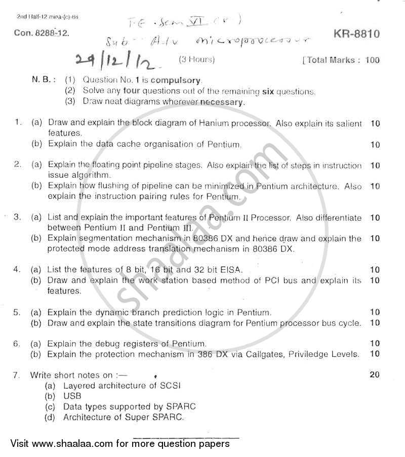 Question Paper - Advanced Microprocessor 2012 - 2013 - B.E. - Semester 6 (TE Third Year) - University of Mumbai