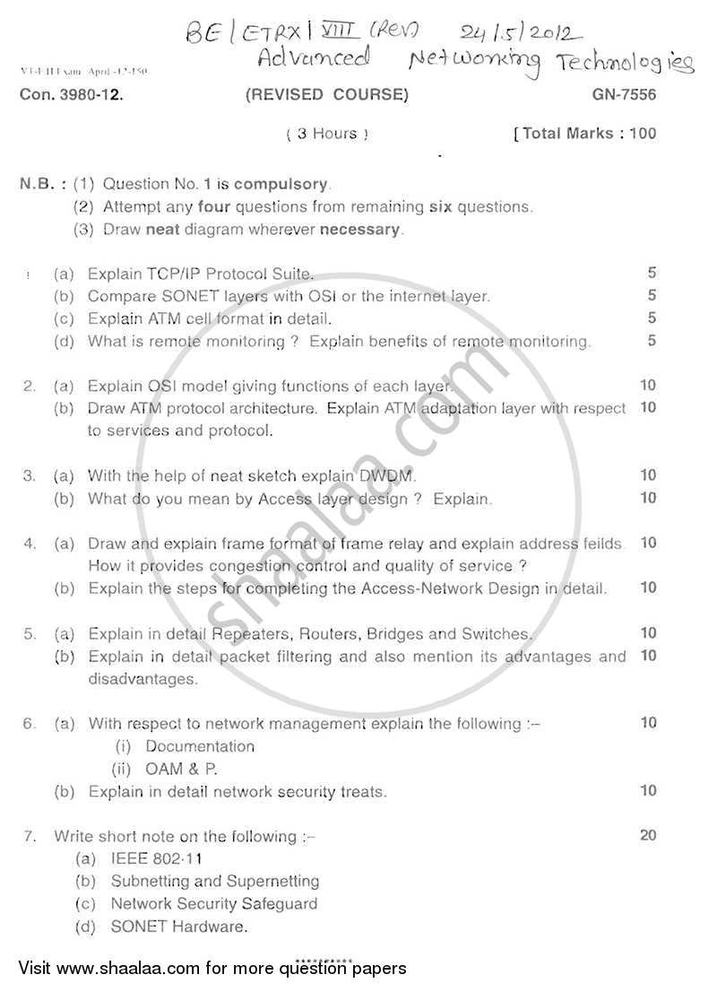 Question Paper - Advanced Networking Technologies 2011 - 2012 - B.E. - Semester 8 (BE Fourth Year) - University of Mumbai