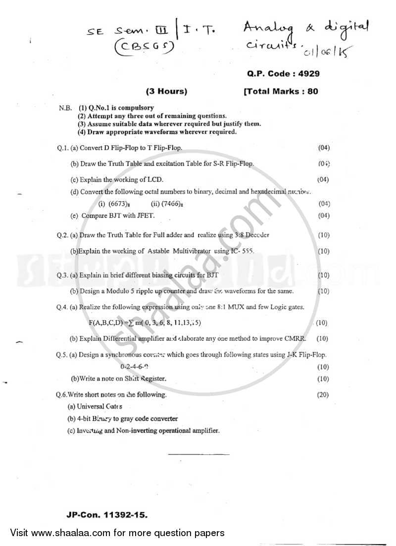 Question Paper - Analog and Digital Circuits 2014 - 2015 - B.E. - Semester 3 (SE Second Year) - University of Mumbai