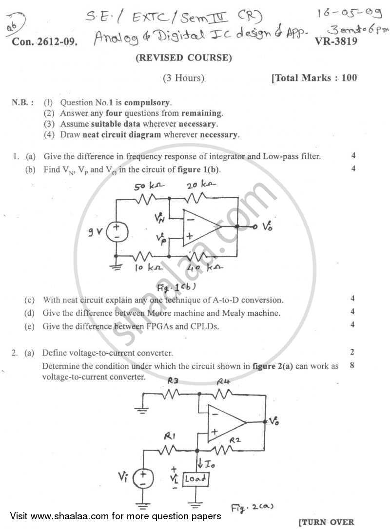 Question Paper - Analog and Digital Ic Design and Application 2008 - 2009 - B.E. - Semester 4 (SE Second Year) - University of Mumbai
