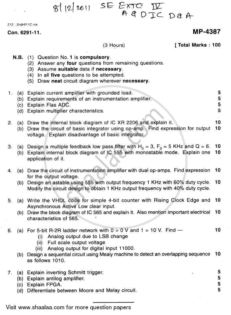 Question Paper - Analog and Digital Ic Design and Application 2011 - 2012 - B.E. - Semester 4 (SE Second Year) - University of Mumbai
