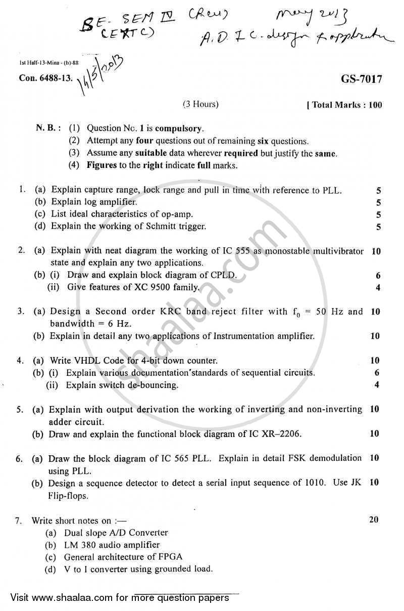 Question Paper - Analog and Digital Ic Design and Application 2012 - 2013 - B.E. - Semester 4 (SE Second Year) - University of Mumbai