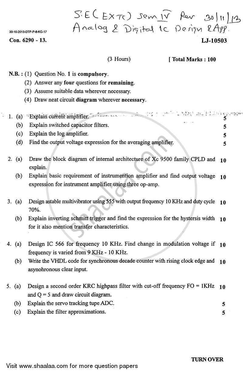 Question Paper - Analog and Digital Ic Design and Application 2013 - 2014 - B.E. - Semester 4 (SE Second Year) - University of Mumbai