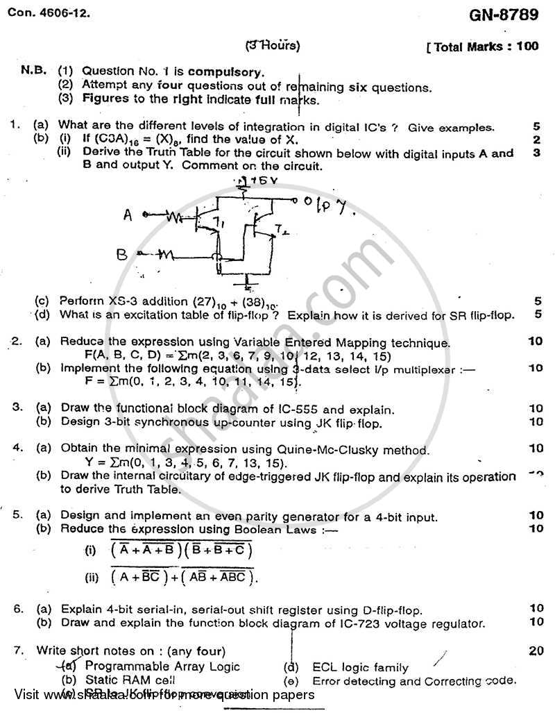 Question Paper Analog And Digital Integrated Circuits 2011 2012 Block Diagram Electrical Engineering Be Semester 4