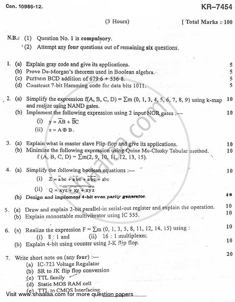 Question Paper - Analog and Digital Integrated Circuits 2012 - 2013-B.E.-Semester 4 (SE Second Year) University of Mumbai