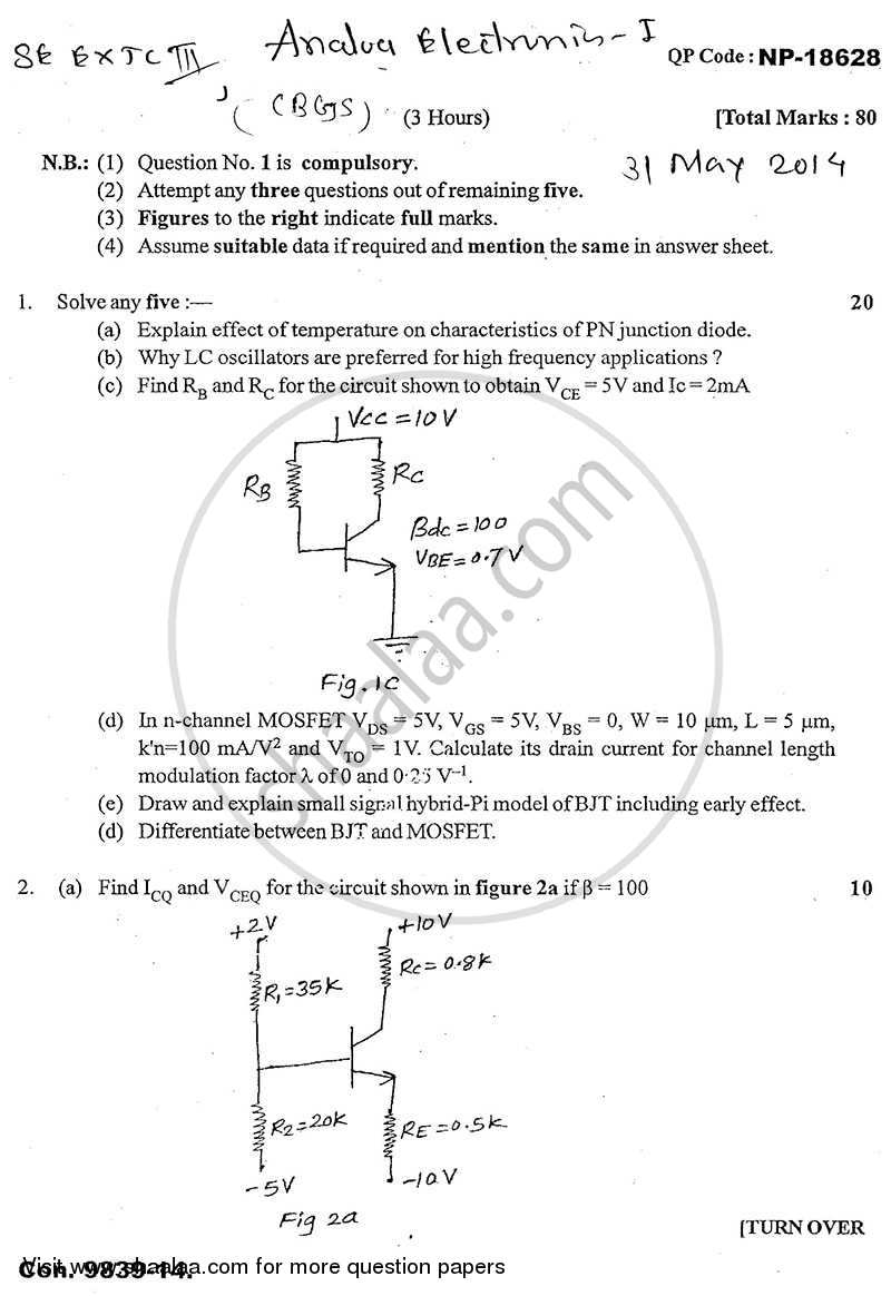 Question Paper - Analog Electronics 1 2013 - 2014 - B.E. - Semester 3 (SE Second Year) - University of Mumbai