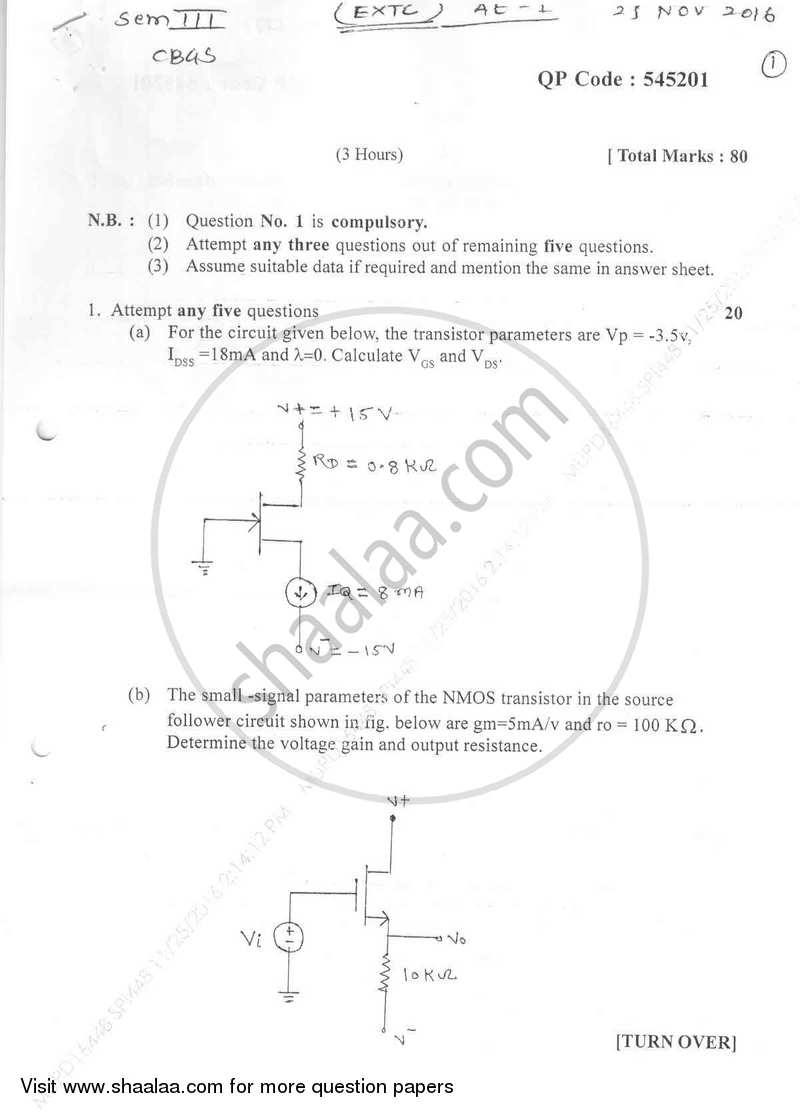 Question Paper - Analog Electronics 1 2016-2017 - B.E. - Semester 3 (SE Second Year) - University of Mumbai with PDF download