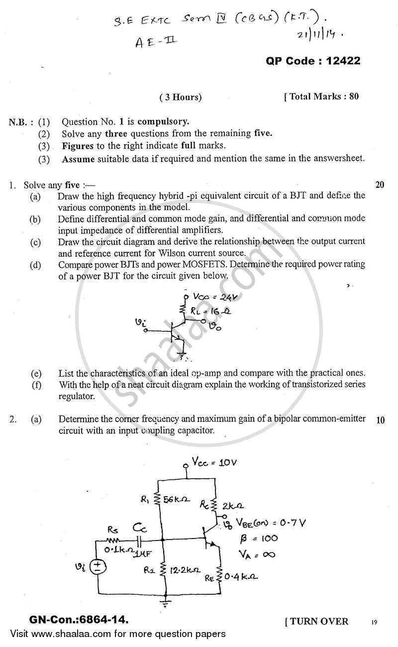 Question Paper - Analog Electronics -2 2014 - 2015-B.E.-Semester 4 (SE Second Year) University of Mumbai