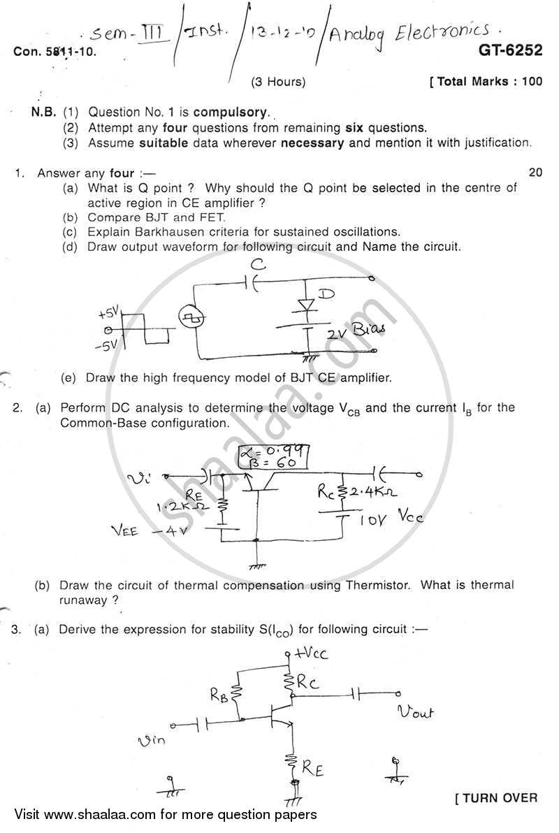 Question Paper - Analog Electronics 2010 - 2011 - B.E. - Semester 3 (SE Second Year) - University of Mumbai